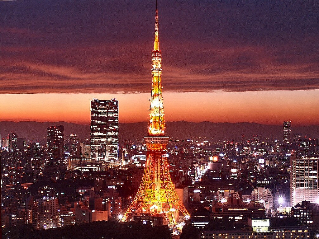 Tokyo Tower at night in Roppongi district in Tokyo Japan