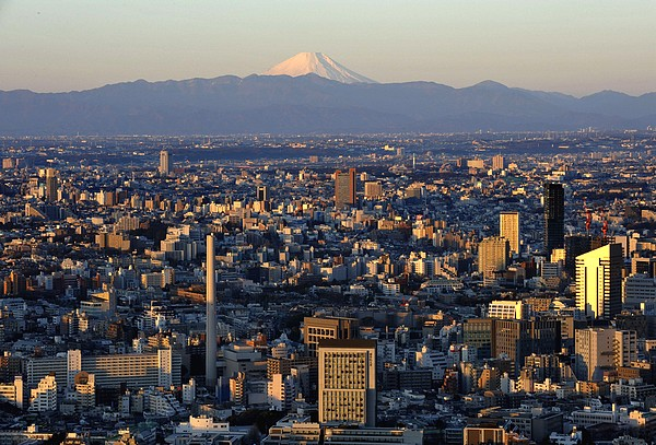 Mount Fuji view at sunrise from Tokyo in Japan