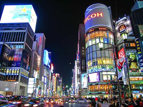 Ginza view of streets by night