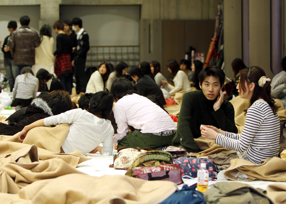 Japanese people resting days after earthquake