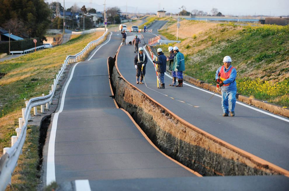 A road destroyed after Japan earthquake