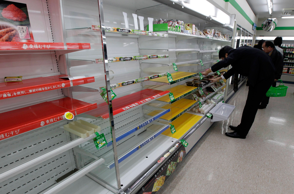 An empty supermarket after Japan earthquake