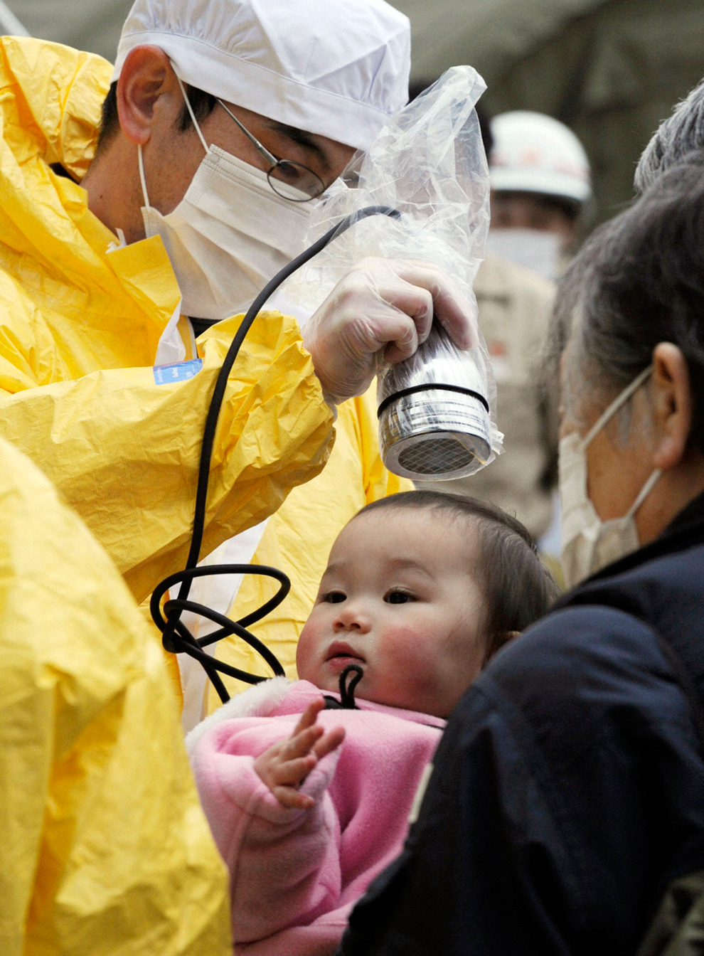 A child get radiation screening in Japan