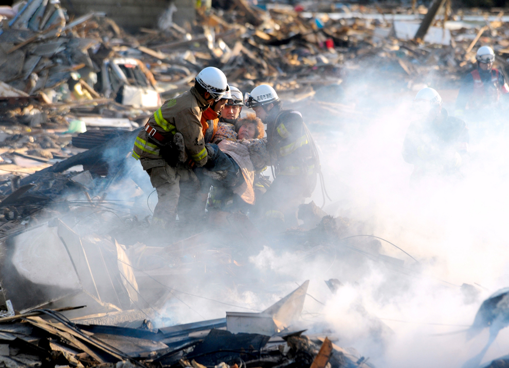 Rescued after Japan earthquake