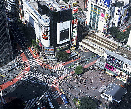 Shibuya crossing taken from sky