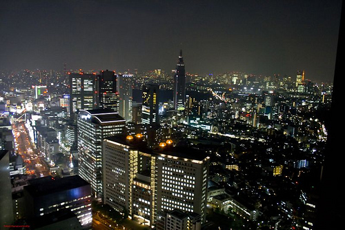 View from Park Hyatt Hotel in Tokyo during night
