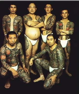 Yakuza small group with traditional tatoos