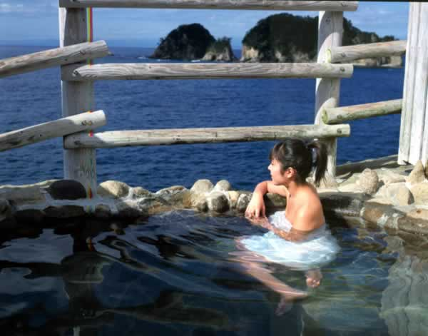 Beautiful Japanese Girl inside Dogashima Onsen