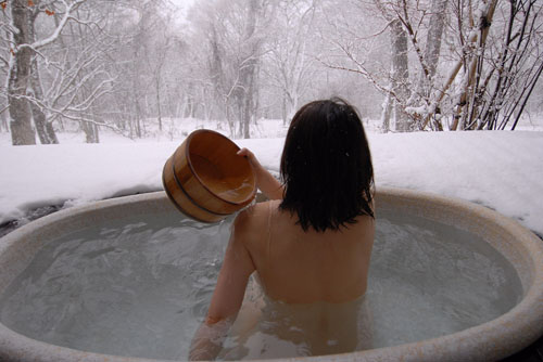 Japanese Woman in Onsen