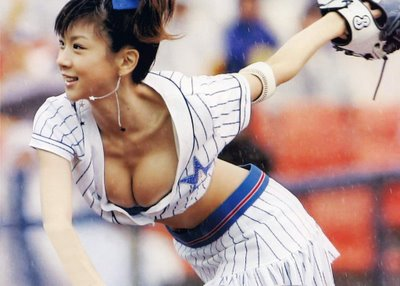 Beautiful Japanese Idol playing baseball in Japan