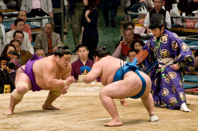 Sumo athletes during a Match