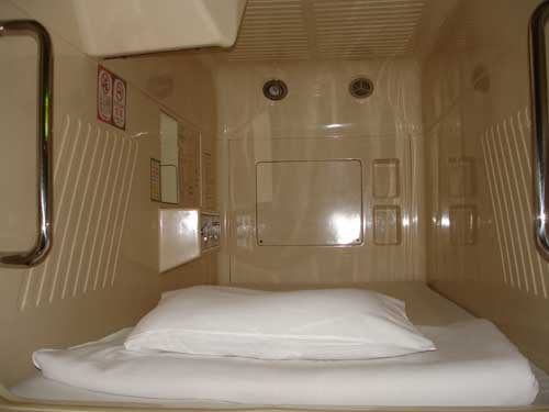 Internal details of a Room in a Japanese Capsule Hotel